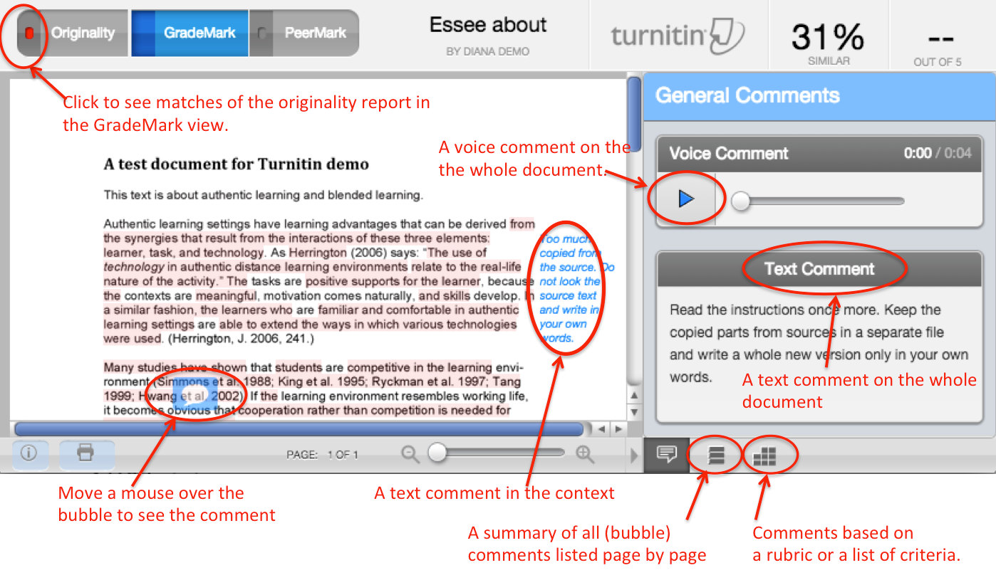 Student Views Feedback Given in GradeMark - Turnitin ...  Turnitin