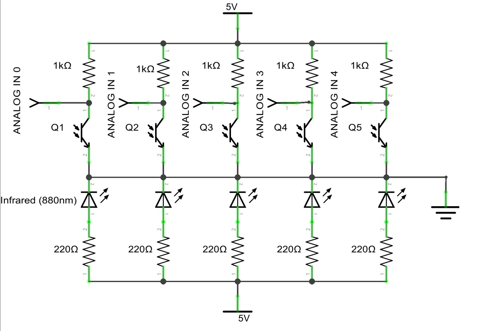 Noutaja 9000 Autonomous Differential Photosensor Array Controlled Transistor Line Follower Robot Circuitschematic